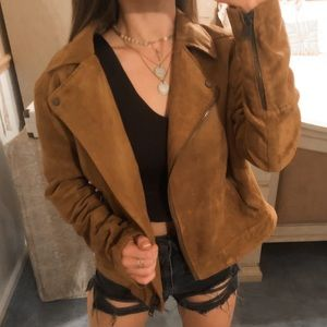 H&M Jackets & Coats - H&M • Brown Suede Leather Collared Zip Up Jacket
